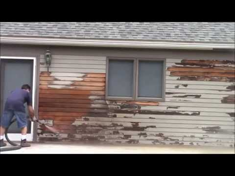 Removing Paint Red Cedar Siding with the 'Dustless Blaster'