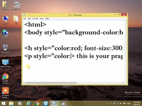 how to make your webpage using html notepad and set it background color and text color, font, size