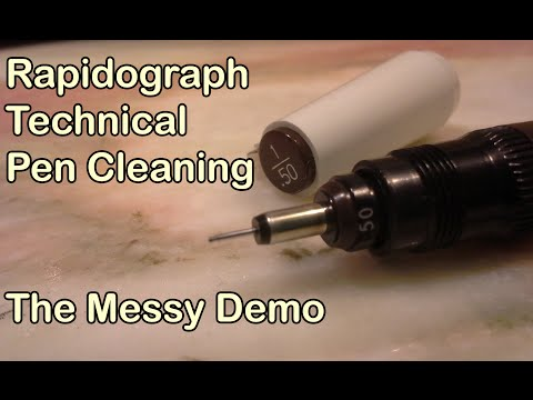Rapidograph Technical Pen Cleaning - Messy Demo