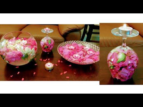 Candle decoration ideas for Diwali/wedding/Anniversary