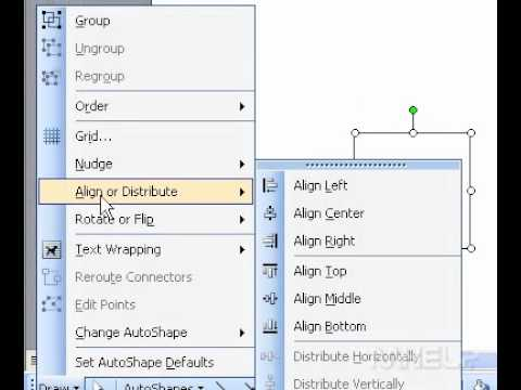 Microsoft Office Word 2003 Align floating objects relative to each other