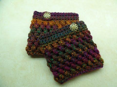CROCHET How to #Crochet Puff Cuffs Puff Stitch Boot Cuffs #TUTORIAL #264 LEARN CROCHET