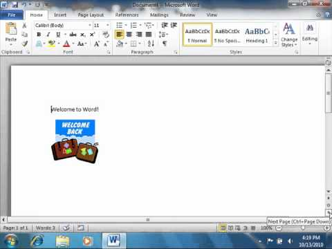 Word 2010 Tutorial The Scroll Bars Microsoft Training Lesson 1.10