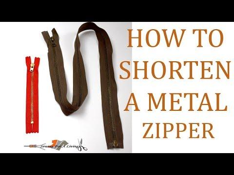 How to shorten a metal zipper