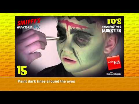 Frankenstein Halloween Face Painting Make-up Tutorials for Children