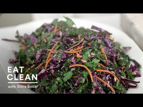 Kale, Red Cabbage and Carrots Slaw - Eat Clean with Shira Bocar