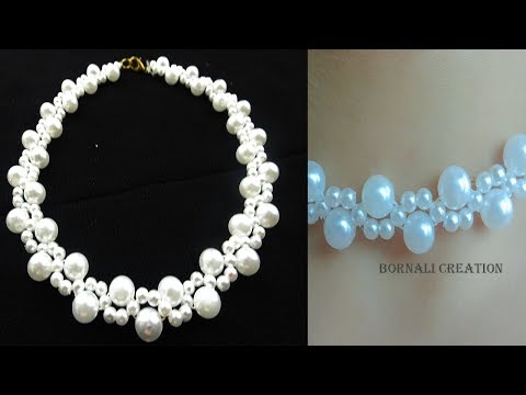 how to make super easy way pearl beads nacklace|diy jewellery  making tutorial by bornali creation