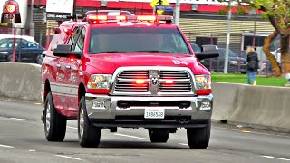 Los Angeles Fire Battalion Chief 4 Dodge Ram Responding Lights and Sirens