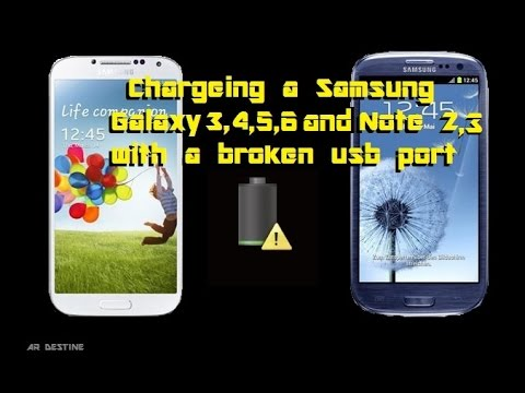 Charge your Samsung s3 s4 s5 Note 2 3 4 with a Broken USB port that wont charge or sync