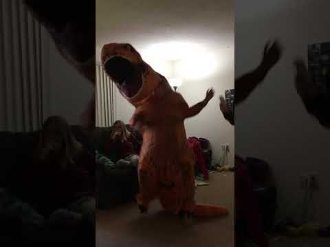 Playing Just Dance in a T-Rex costume