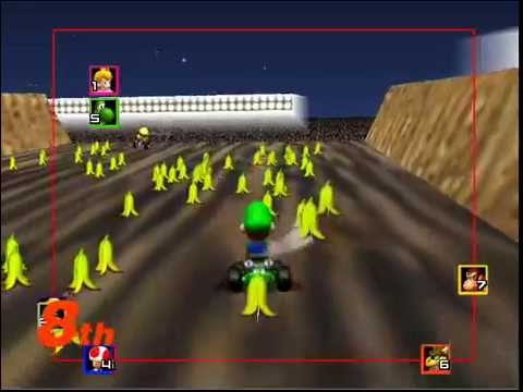 Mario Kart 64 - Spamming infinite bananas on Wario Stadium