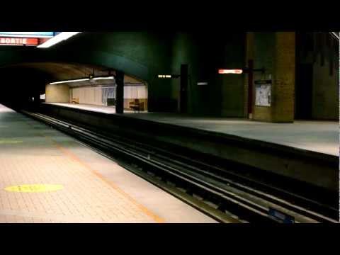 Two Montreal Metro MR-73 Trains Entering De Castelneau Station