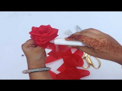 Rose Flower Making with Silk Ribbon step by step