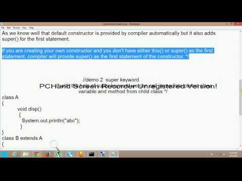 Java tutorials by Rajan Jain : Constructor Chaining Super keyword Super() methodvideo12