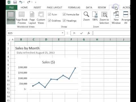 Excel 2013 Show or Hide Gridlines