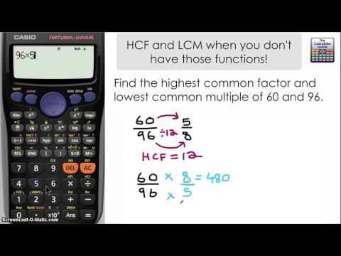 Find Highest Common Factor & Lowest Common Multiple -  No GCD/LCM button method Casio Calculator