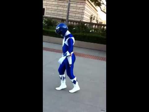Original Blue Power Ranger does the Moonwalk