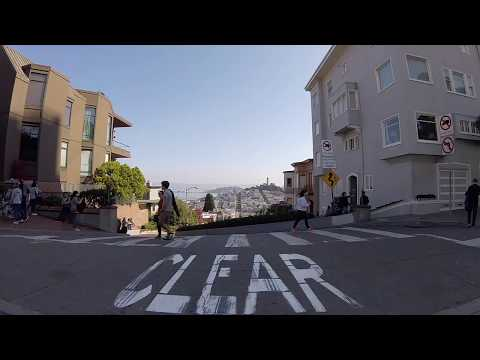 Lombard Street, San Francisco, Steep drive down California Oct 2017 with GoPro Session 5 HD
