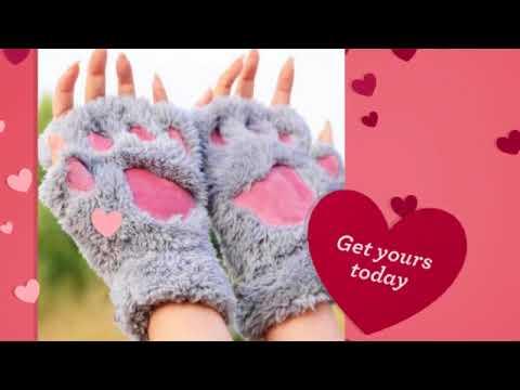 Fingerless Fluffy Bear Dog Cat Gloves