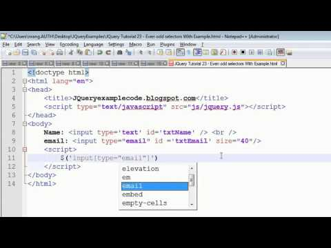 JQuery Tutorial 24 - Attribute Selector with an example