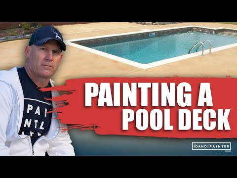 How To Paint A Pool Deck.  DIY Tips Painting Concrete Pool Decks.  Painting swimming pools.