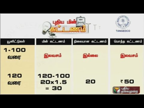 New Electricity Fares in Tamil Nadu | 100 Units Free