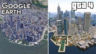 Liberty City vs New York GOOGLE Earth | GTA 4 Comparison