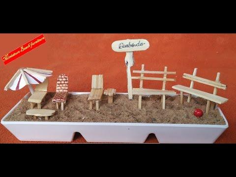 Miniature beach furniture with match sticks and popsicle sticks