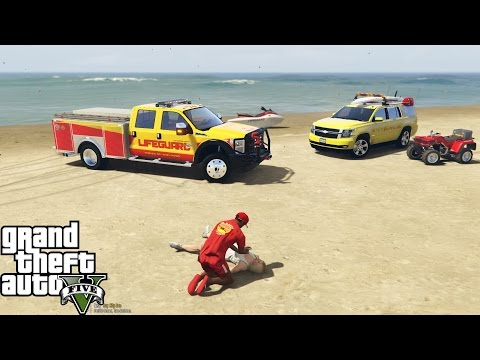 GTA 5 Play As A Lifeguard Mod | Cardiac Arrest On The Beach | F-350, Tahoe, 4 Wheeler & Jetski