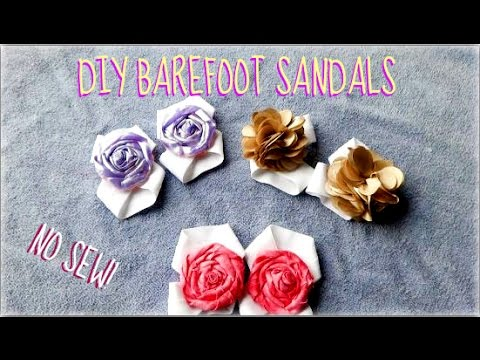 DIY BABY BAREFOOT SANDALS! with ROSETTE! {no sew!!!}