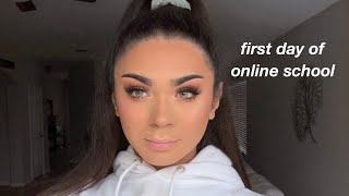 FIRST DAY OF ONLINE SCHOOL vlog/grwm