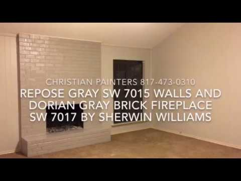 Repose Gray SW 7015 Walls And Dorian Gray SW 7017 Brick Fireplace by Sherwin Williams