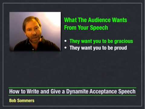 How to Write and Give an Acceptance Speech - 2 of 10