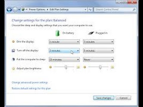 How to change settings for power save mode, Windows 7