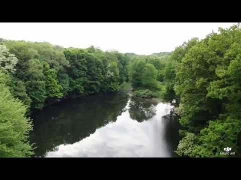 Drone flying over the lake