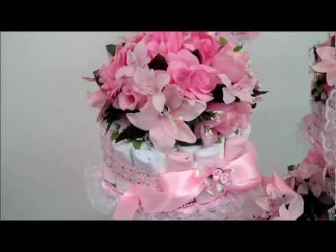Platinum Pink 4-Piece Baby Bottle Diaper Cake