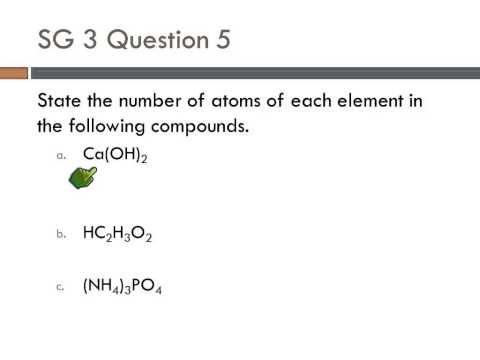 10 SG3 #5 Number of atoms in a chemical formula