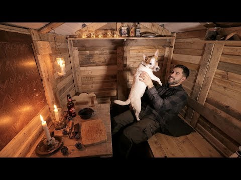 Log Cabin Life: Alone with my Dog in the Off Grid Pallet Wood Cabin