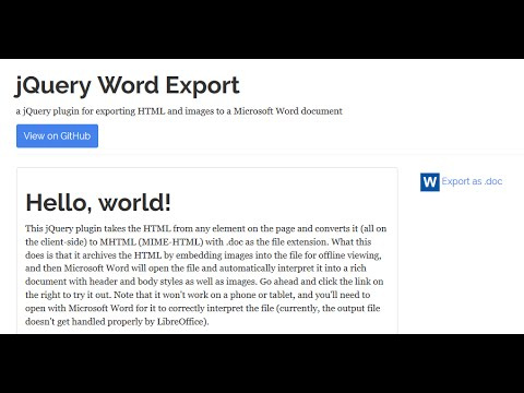 Export HTML and Images to Microsoft Word (.doc) Using jQuery