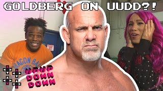 GOLDBERG drops in during a CrunchyRoll unboxing w/ Sasha, Neville & Creed! — UpUpDownDown Unboxing