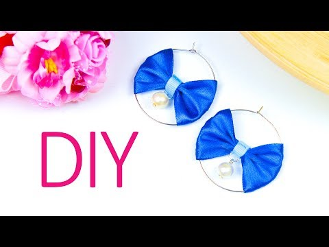 How to make Bow hoops earrings (Easy)| DIY satin ribbon earrings | Beads art