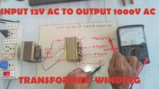 Input 12v AC To Output 1000v AC Step up Transformer Winding Easy At Home. YT-43