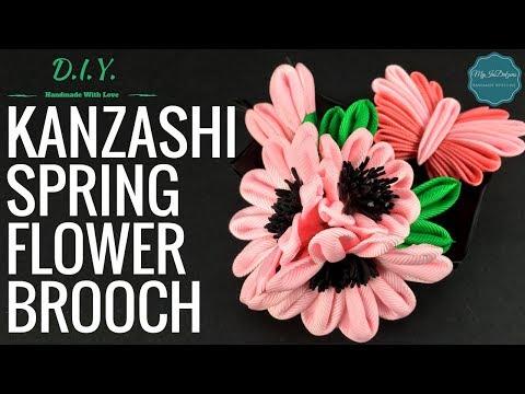 D.I.Y. Kanzashi Spring Flower Brooch | MyInDulzens