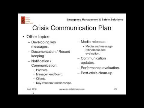 Improving Disaster and Crisis Management: What is a Communication Plan?