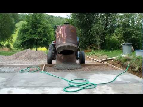Pouring cement driveway