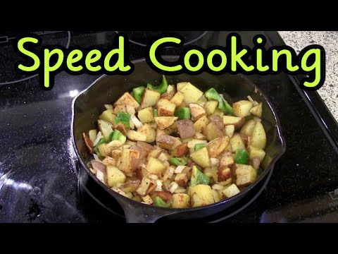 Speed Cooking ~ Fried Potatoes and Eggs in a Cast Iron Skillet