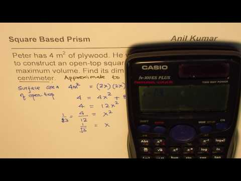 Find dimensions of square based prism for maximum volume with given surface area