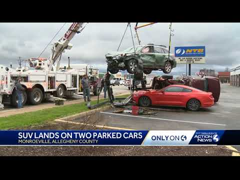 SUV lands on two vehicles after crash on Route 22 in Monroeville