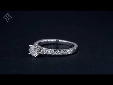 UT56 - Platinum Natalia GIA certified Diamond Sidetone Engagement Ring