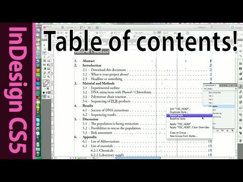 InDesign Table of Contents for text documents - CS5 Tutorial (Part 7)